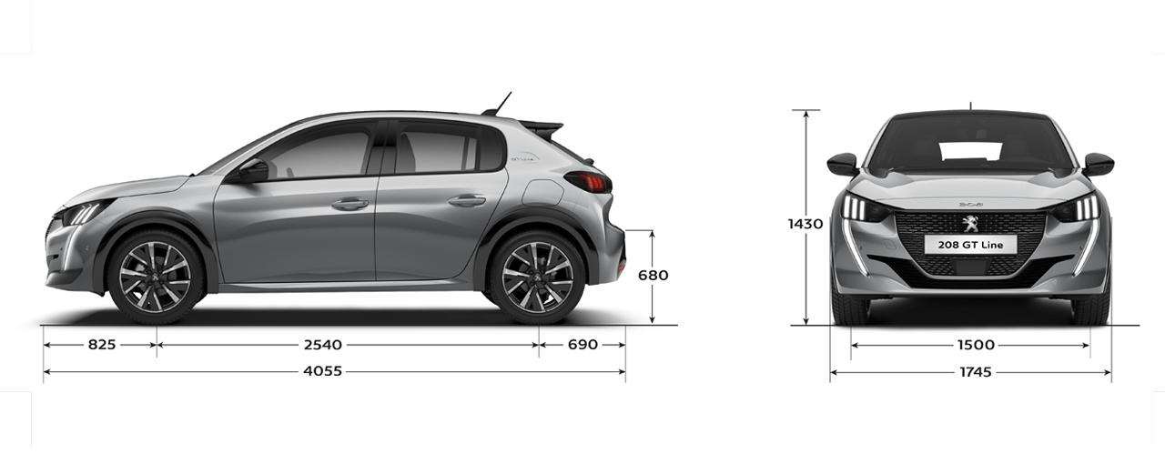 Ny Peugeot 208 - Størrelse